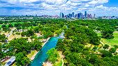 Austin Texas Barton Springs Aerial drone view summertime green paradise