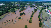 massive amount of water flooded Columbus , Texas