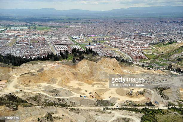 Aerial view air of a gravel sand and stone quarry in the municipality of Soacha outskirts of Bogota on June 27 2013 In a joint PoliceJustice...