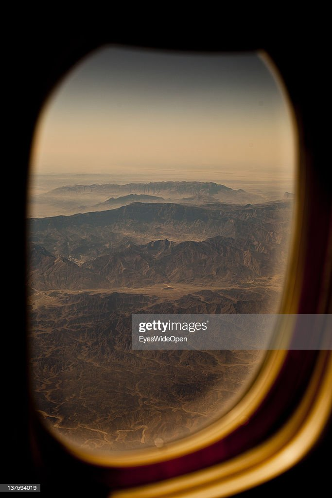 Aerial view and landscape of a mountain desert area of Saudi Arabia on the flight from Dubai to Munich on December 25, 2011 in Dubai, United Arab Emirates
