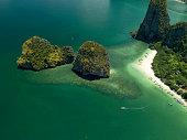 Aerial view Ao Phang Nga Bay in Thailand.