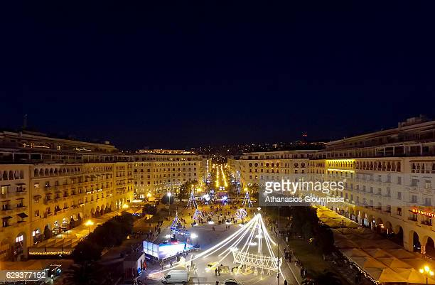 Aerial view at sunset of Aristotelous Square with Christmas tree and Christmas lights on December 10 2016 in Thessaloniki Greece Aristotelous Square...