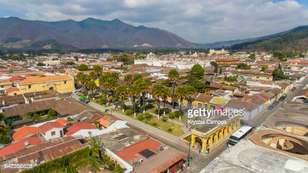 Aerial view at the city of Antigua, Guatemala