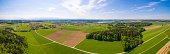 Aerial panorama of a beautiful spring landscape in the Bavarian countryside