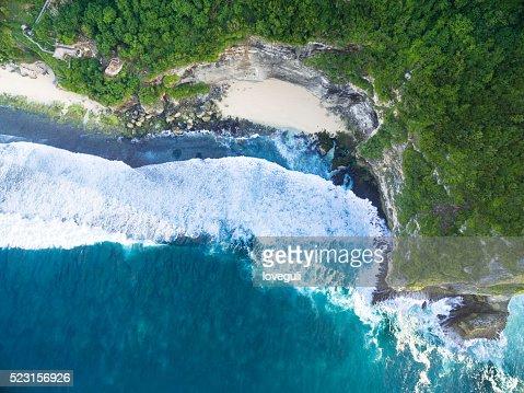 Vue aérienne de la plage à Bali