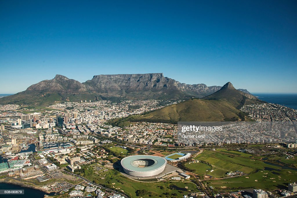Aerial view, Cape Town with Green Point Stadium, Lionhead and Table Mountain, Cape Town, Western Cape, South Africa
