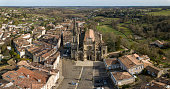Aerial view, Cathedral of Bazas film by drone, Gironde, Aquitaine, France, Europe