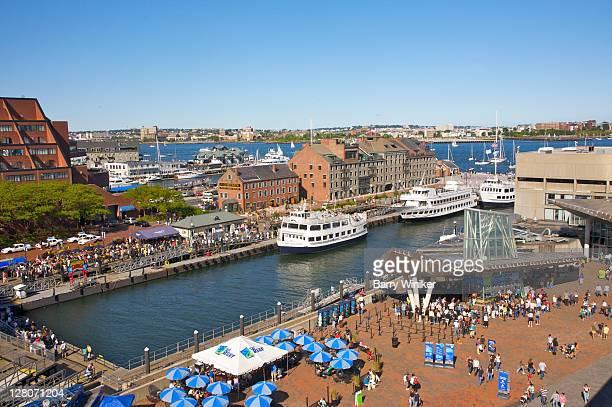 Aerial view, Central Wharf, New England Aquarium, Boston, Massachusetts, USA