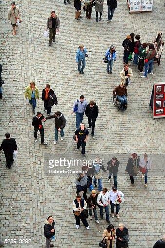 Aerial view Charles bridge Prague walking tourists