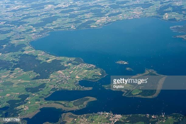 Aerial view, Chiemsee lake, Upper Bavaria, Bavaria, Germany, Europe