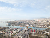 Aerial View  city, port . Drone Photography