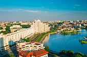 Aerial view, cityscape of Minsk, Belarus. Summer season, sunset time. Nemiga district