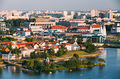 Aerial view, cityscape of Minsk, Belarus. Summer season, sunset time. Nemiga district