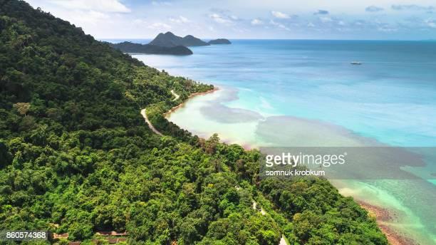 Aerial view coastal road in Kho chang;Thailand