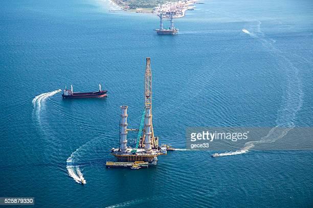 Vue aérienne de Construction de pont izmit, en Turquie