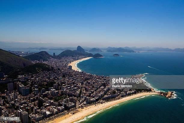 Aerial view Copacabana and Ipanema beaches on November 12 2013 in Rio de Janeiro Brazil