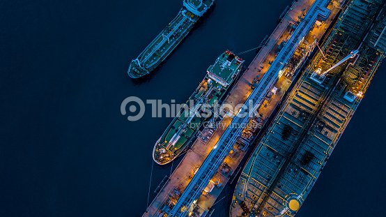 Aerial view Crude oil tanker : Stock Photo