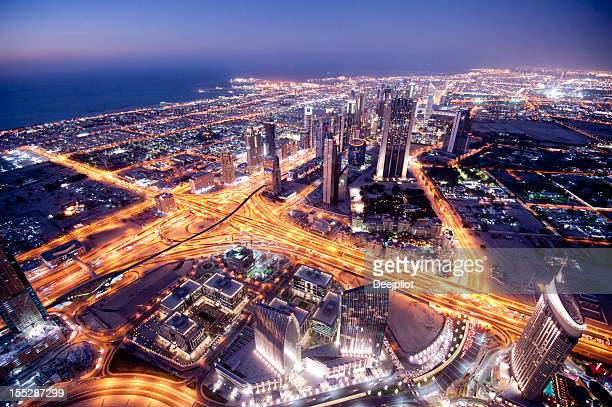 Aerial View Dubai City Skyline in the United Arab Emirates