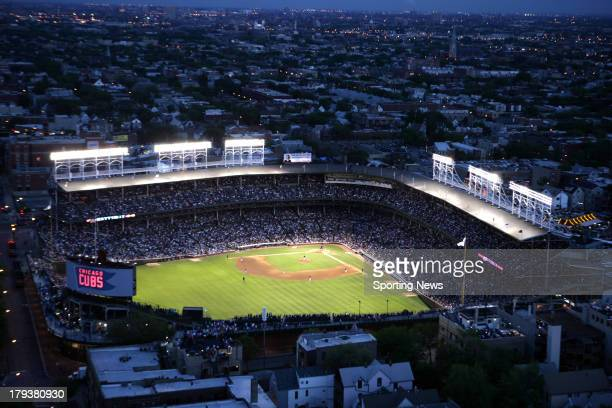Aerial view during the game between the Cincinnati Reds and the Chicago Cubs on May 31 2006 at Wrigley Field in Chicago Illinois