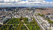 Aerial View Financial District Of Brussels Cityscape In Belgium Europe