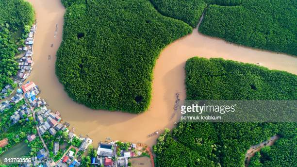 Aerial view fisherman village in mangrove forest in rainy season