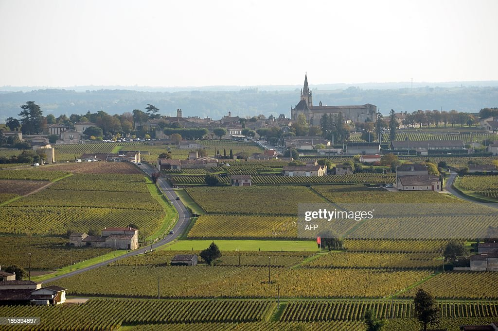 Aerial view from a hot air balloon shows the village of Saint Emilion surrounded by its famous vineyards on October 19, 2013.
