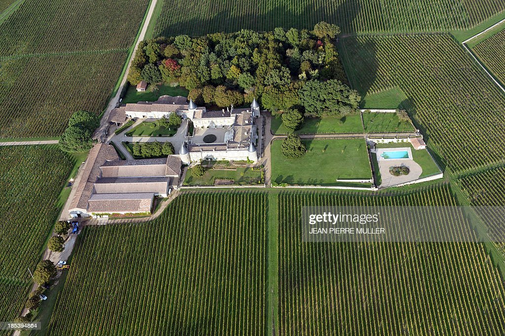 Aerial view from a hot air balloon shows vineyards surrounding a property near the village of Saint Emilion on October 19, 2013.