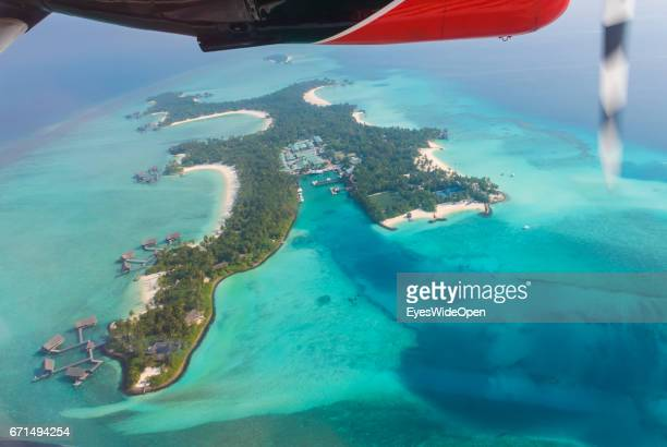Aerial View from a Seaplane of Trans Maldivian Airways at Ring Reefs and Island Hotels in the Indian Ocean on February 23 2017 in Male Maldives