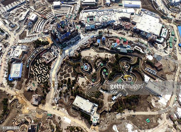 Aerial view from an Unmanned Aerial Vehicle shows Shanghai Disneyland Park is under construction on February 25 2016 in Shanghai China Shanghai...