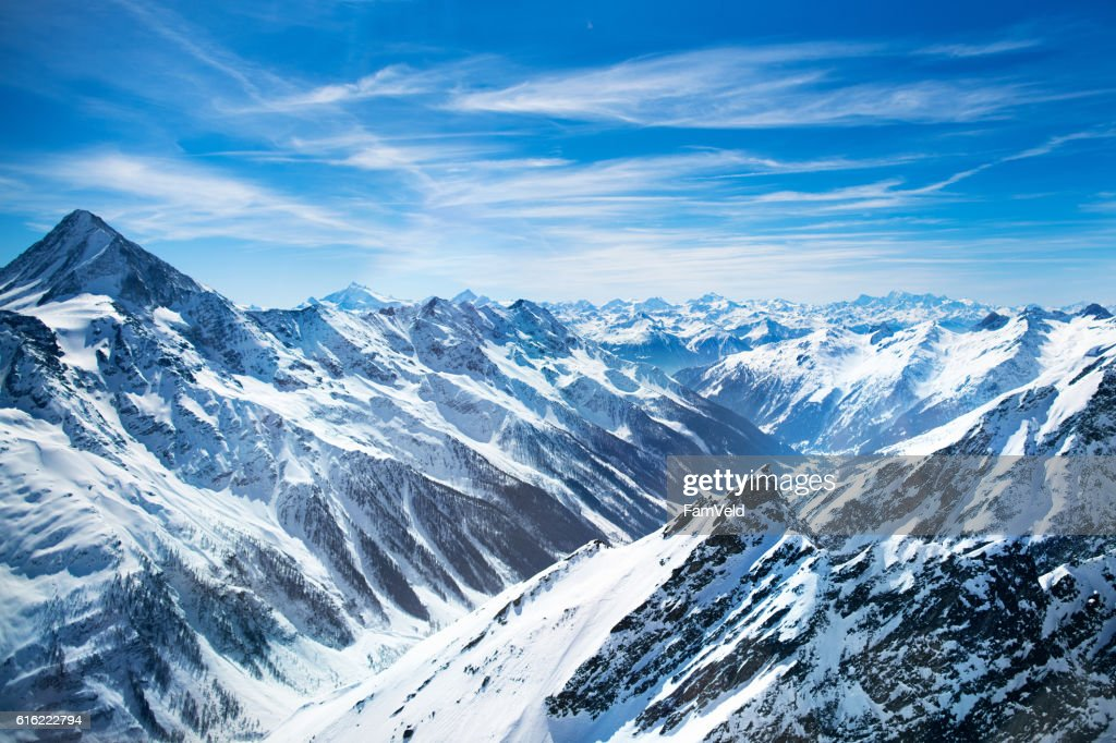 Aerial view from helicopter in Swiss Alps : Foto stock