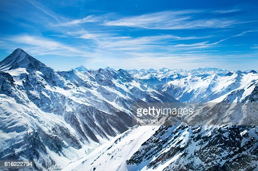 Aerial view from helicopter in Swiss Alps : Stock Photo