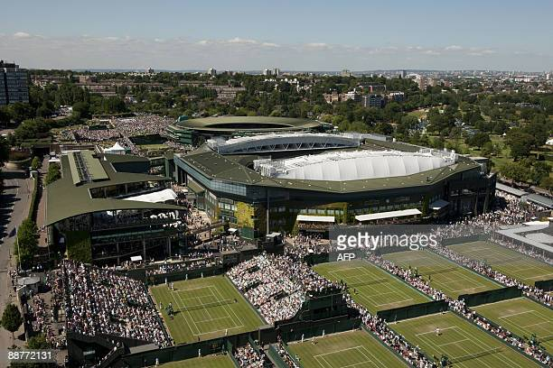 USE Aerial view from the BBC hoist of The All England Lawn Tennis and Croquet Club during play between Britain's Andy Murray and Switzerland's...
