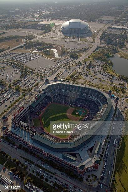 Aerial view from the DirecTV Blimp of Rangers Ballpark with Cowboys Stadium in the background prior to Game Five of the 2010 MLB World Series between...