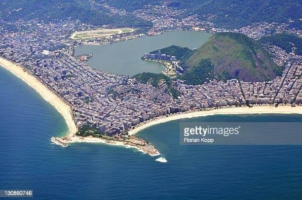 Aerial view, looking at Ipanema beach, left, and Copacabana beach, right, with the Lagoa Freitas lagoon, Rio de Janeiro, Brazil, South America