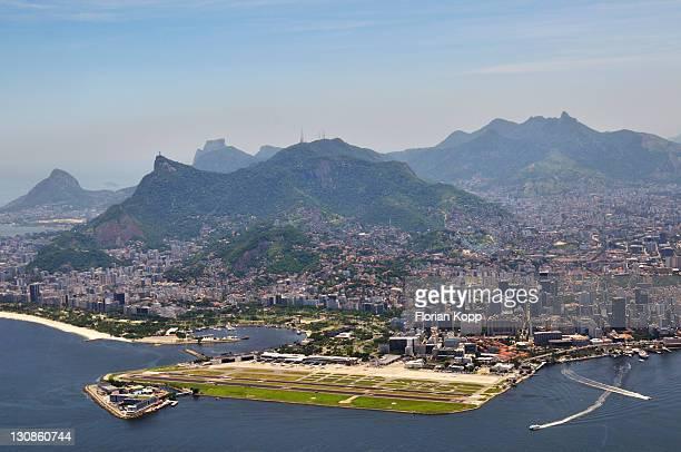 Aerial view, looking at the center of Rio de Janeiro with Santos Dumont city airport, Rio de Janeiro, Brazil, South America