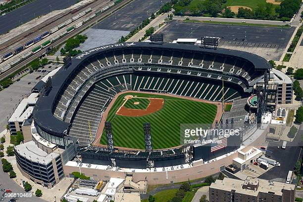 Aerial view looking down on an empty US Cellular Field home field of the Chicago White Sox baseball team in the South Side of Chicago Illinois May...
