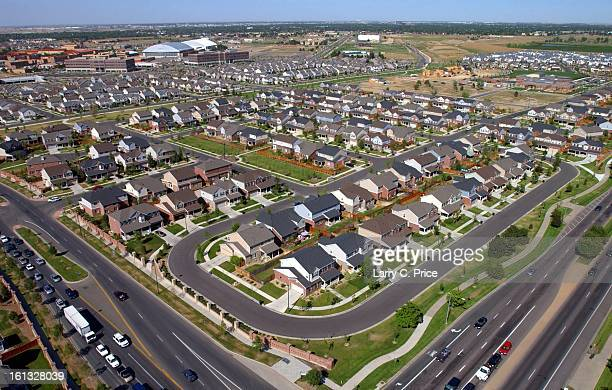 Aerial view looking northeast from the intersection of Alameda and Quebec of newer homes on the site of the former Lowry Air Force Base