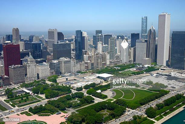 Aerial view looking northwest across Grant Park of the downtown skyline Chicago Illinois May 30 2014 Visible at the center of the park is the Art...