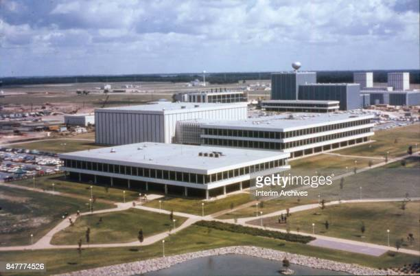 Aerial view looking northwest across part of NASA's Manned Space Center campus Houston Texas 1960s
