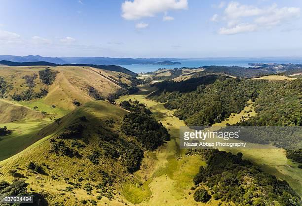 Aerial view Manukau Heads Mountain ranges.