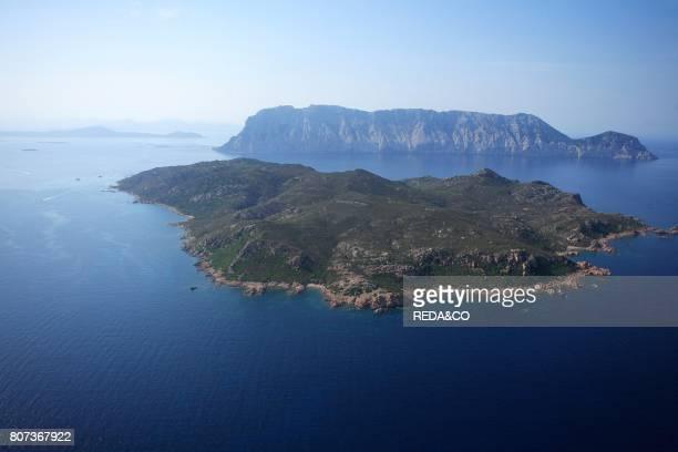 Aerial view Molara and Tavolara island Loiri Porto San Paolo Sardinia Italy
