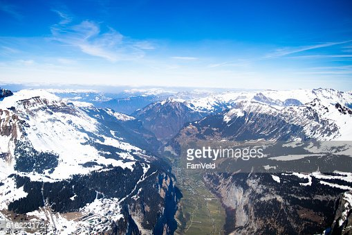 Aerial view mountain Swiss Alps tops covered in snow : Photo