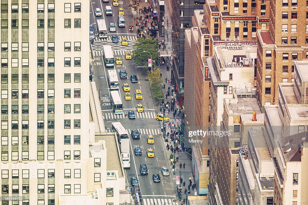 Aerial View New York City Street Life
