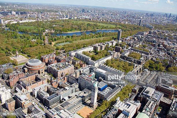 Aerial view North east of Hyde park and the  Royal Albert hall and the Albert Memorial