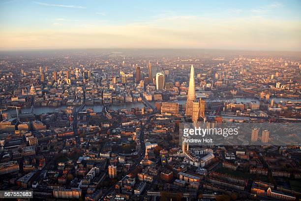 Aerial view North  of the Shard and London bridge