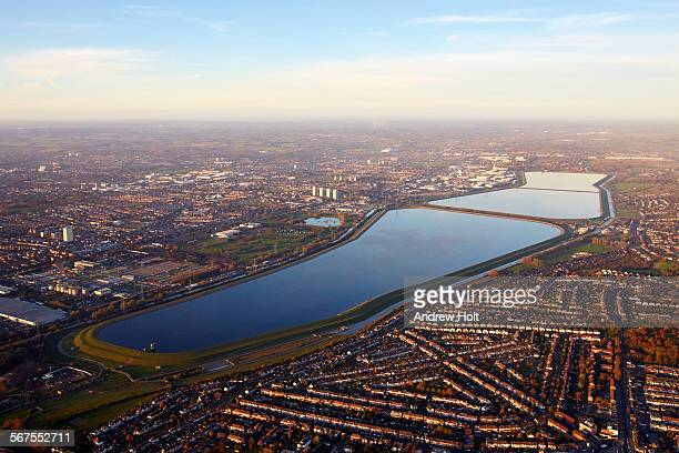Aerial view North west across William Girling reservoir Lea Valley Enfield