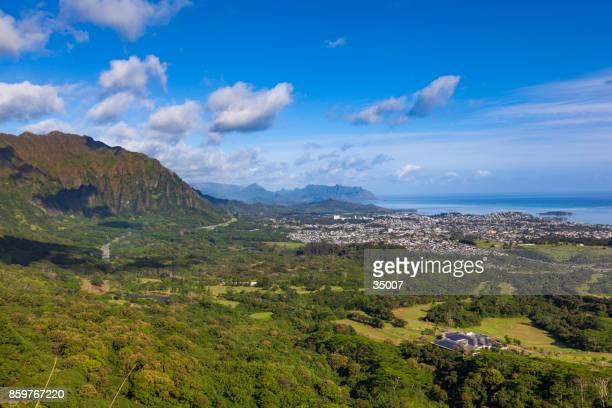空撮オアフ島、ハワイ諸島