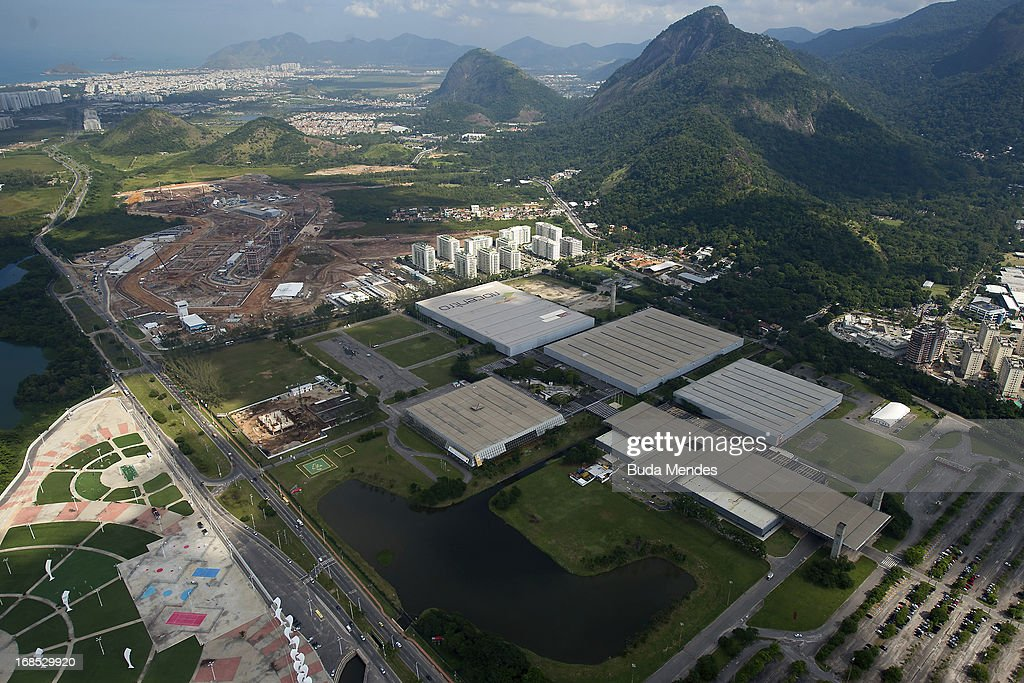 Aerial view of 2016 Olympic Village under construction and Riocentro on May 10, 2013 in Rio de Janeiro, Brazil.