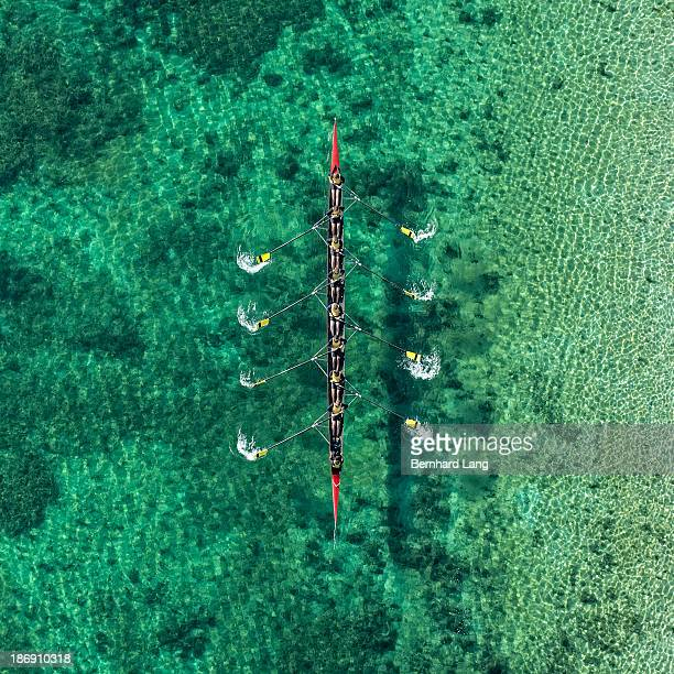 Aerial view of 8-seat rowing boat in action