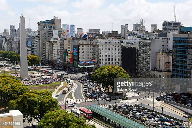 Aerial view of 9 de Julio avenue on December 10 2013 in Buenos Aires Argentina